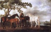 George Stubbs Mares and Foals in a River Landscape oil painting picture wholesale
