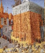 Jean Fouquet The building of the temple to jerusalem, from Flavius Josephus De antiquity skills and wars of the Jews oil
