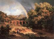 Karoly Marko the Elder Italian Landscape with Viaduct and Rainbow oil painting picture wholesale