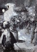 Lesser Ury At the railway station Friedrichstrabe oil painting artist