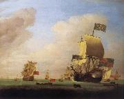 Monamy, Peter Flagship of Sir John Leake,coming to anchor in the bay of Barcelona oil painting picture wholesale