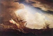 Monamy, Peter English ships beating to windward in a gale oil painting picture wholesale