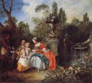 Nicolas Lancret A Lady in a Garden Taking coffee with some Children oil painting picture wholesale