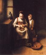 Nicolas Maes A Woman Scraping Parsnips,with a Child Standing by Her oil painting picture wholesale