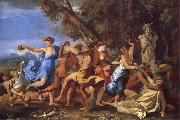 Nicolas Poussin A Bacchanalian Revel Befroe a Term of Pan oil painting picture wholesale