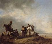 Philips Wouwerman A View on a Seashore with Fishwives Offering Fish to a Horseman oil painting artist