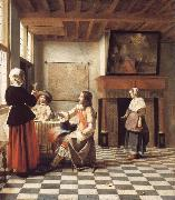 Pieter de Hooch An Interior,with a Woman Drinking with Two Men,and a Maidservant oil painting picture wholesale