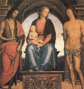 Pietro vannucci called IL perugino The Madonna and the Nino enthroned, with the Holy Juan the Baptist and Sebastian oil painting artist