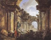 ROBERT, Hubert Imaginary View of the Grande Galerie in the Louvre in Ruins oil painting picture wholesale