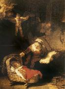 Rembrandt van rijn The Sacred Family with angeles oil painting picture wholesale