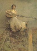 Thomas Wilmer Dewing Girl with Lute oil painting picture wholesale