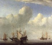 VELDE, Willem van de, the Younger A Dutch Ship Coming to Anchor and Another Under Sail oil painting picture wholesale