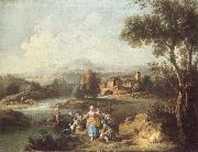 ZAIS, Giuseppe Landscape with a Group of Figures Fishing oil painting picture wholesale