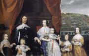 Cornelius Johnson Arthur,1st Baron Capel and his family oil painting artist