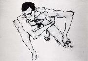 Egon Schiele Self Portrait in crouching position oil painting picture wholesale
