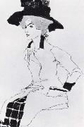 Egon Schiele Portrait of a woman with a large hat oil painting picture wholesale