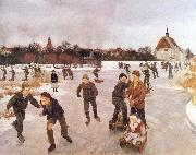 Ole Peter Hansen Balling Pa ice out the village. Faborg oil painting picture wholesale