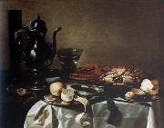 Pieter Claesz Style life with lobster and crab oil painting artist