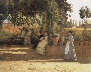 Silvestro lega In the wine bower oil painting artist