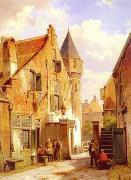 unknow artist European city landscape, street landsacpe, construction, frontstore, building and architecture.061 oil painting picture wholesale