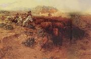 Charles M Russell The Buffalo hunt oil painting picture wholesale