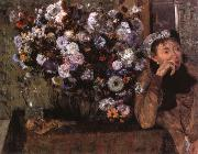 Edgar Degas A Woman seated beside a vase of flowers oil painting picture wholesale