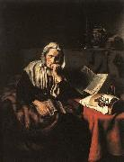 Nicolaes maes Old Woman Dozing oil painting artist