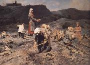 Nikolai Kasatkin Poor People Collecting Coal in an Abandoned Pit oil painting artist