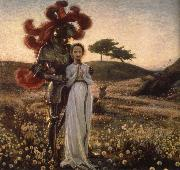 Richard Bergh Knight and The virgin oil painting picture wholesale