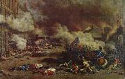 unknow artist Da the avslojades ,att king had consort with France enemies charge a rebellion crowd the 10 august Tuilerierna oil painting picture wholesale