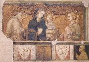 Ambrogio Lorenzetti Madonna with St Francis and St John the Evangelist oil painting artist