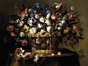 Arellano, Juan de Basket of Flowers c oil painting