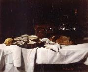 Francois Bonvin Still life with Lemon and Oysters oil