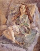 Jules Pascin The red hair girl wearing  green dress oil painting picture wholesale