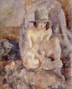 Jules Pascin Nude female wearing green hat oil