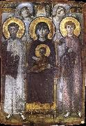 unknow artist The throne Virgin Mary with the child between ST Teodor and ST Goran, oil painting picture wholesale