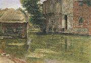 Albert Goodwin,RWS Old Mill,Near Winchester (mk46) oil painting artist