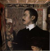 Franz von Stuck Self-Portrait at the Easel oil painting picture wholesale