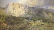 Henry Clarence Whaite,RWS Castle Rock,Cumberland (mk46) oil painting artist