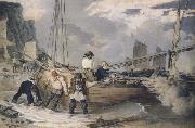 John Augustus Atkinson Fishermen hauling out ready to put to sea (mk47) oil painting artist