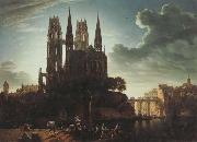 Karl friedrich schinkel Gothic Cathedral by the Waterside (mk450 oil painting picture wholesale
