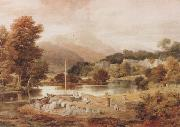 Ramsay Richard Reinagle A Slate Wharf,with the Village of Clappersgate and Coniston Fells,near the Head of Windermere-Forenoon (mk47) oil painting artist