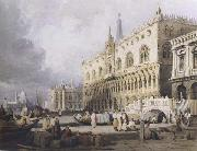 Samuel Prout The Doge s Palace and the Grand Canal,Venice (mk47) oil painting artist