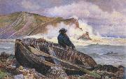 William henry millair A Fisherman with his Dinghy at Lulworth Cove (mk46) oil painting artist