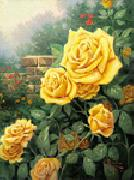 unknow artist Yellow Roses in Garden oil painting reproduction