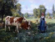unknow artist Cow and Woman oil painting picture wholesale