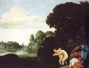 Carlo Saraceni landscape with salmacis and hermaphroditus oil