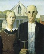 Grant Wood American Gothic oil painting on canvas