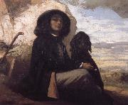 Gustave Courbet Self-Portratit with Black Dog oil painting picture wholesale
