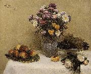 Henri Fantin-Latour White Roses, Chrysanthemums in a Vase, Peaches and Grapes on a Table with a White Tablecloth oil painting artist